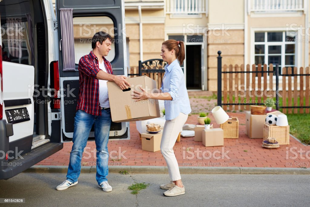 Young Family Moving House stock photo