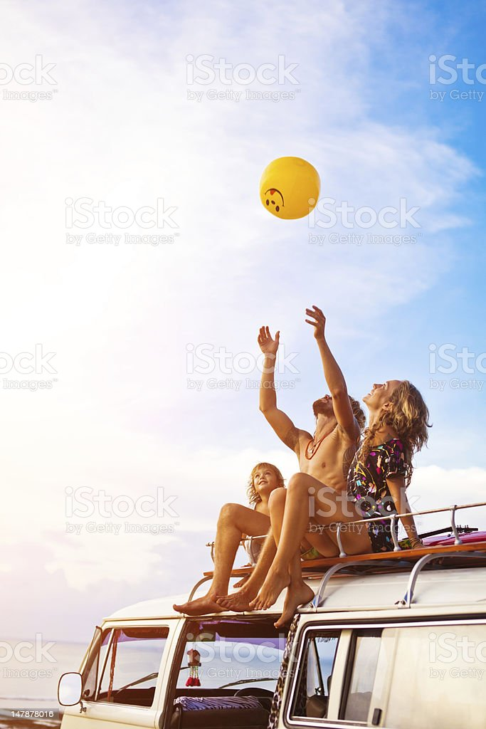 young family on a beach stock photo