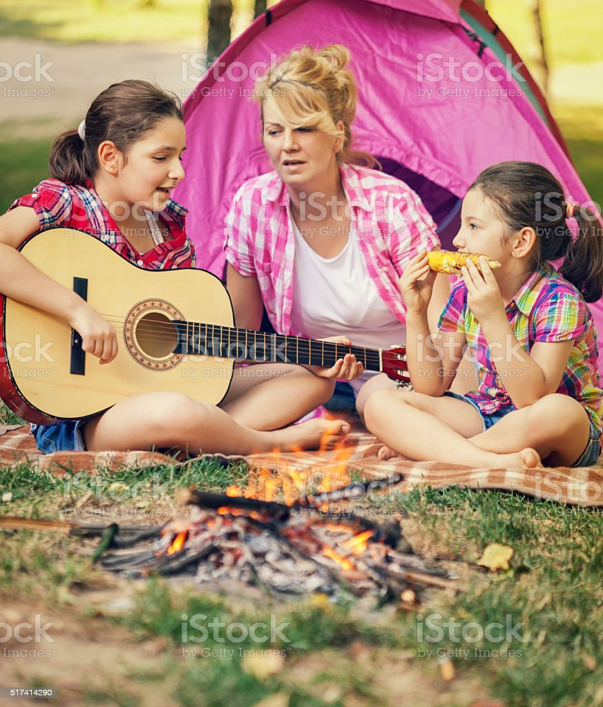 Young Family on a Camping stock photo
