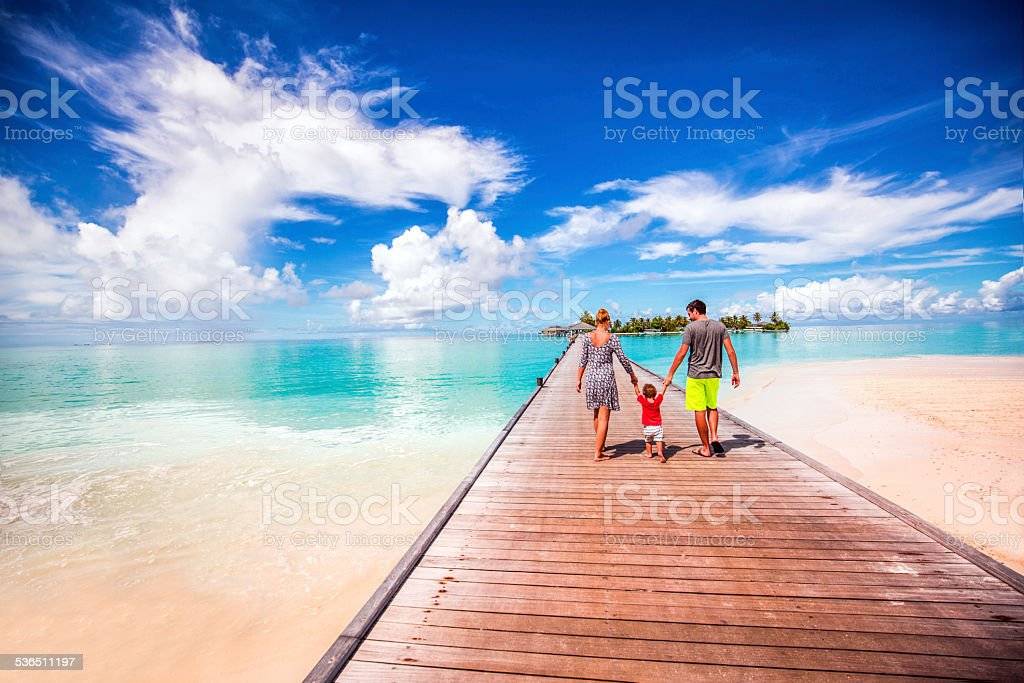 Young family on a vacation stock photo