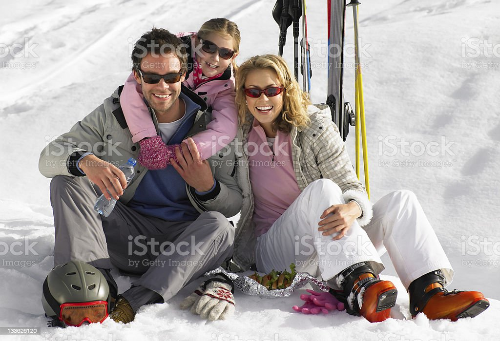 Young Family On Ski Vacation stock photo
