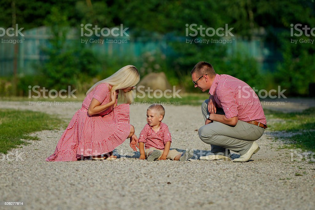 young family parenting naughty son stock photo