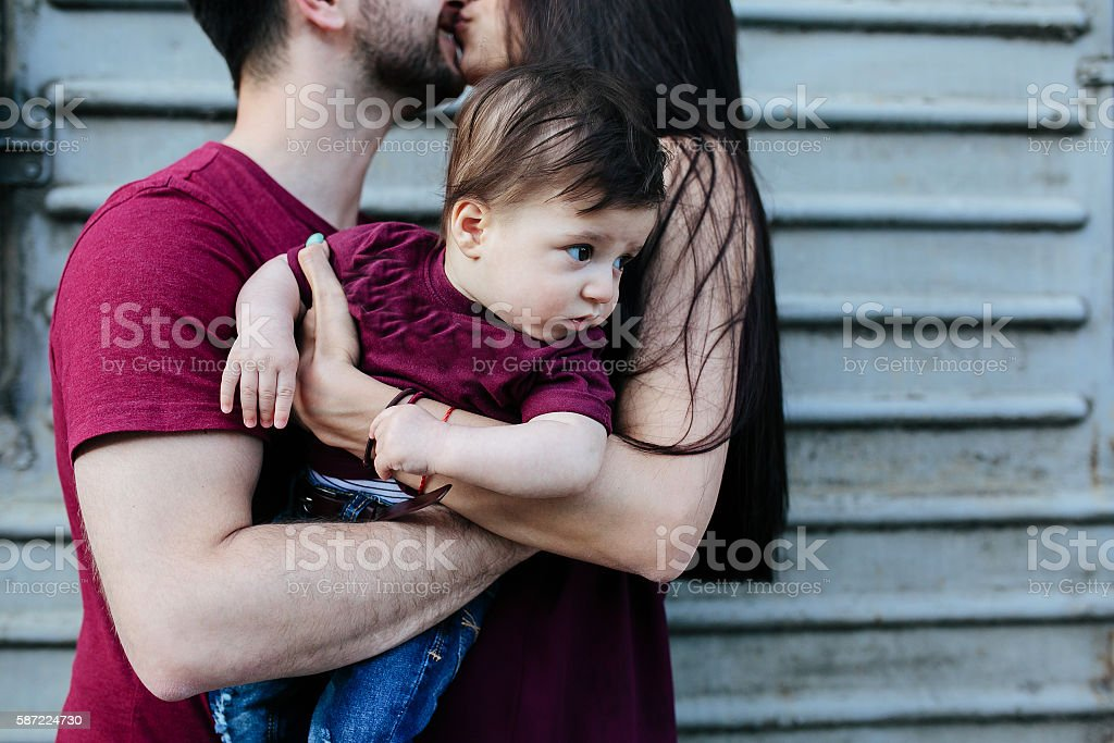 young family with a child stock photo