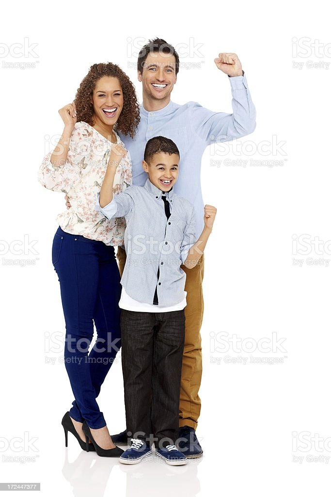 Young family with kid cheering on white background royalty-free stock photo