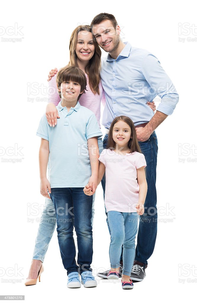 Young family with two children standing together stock photo