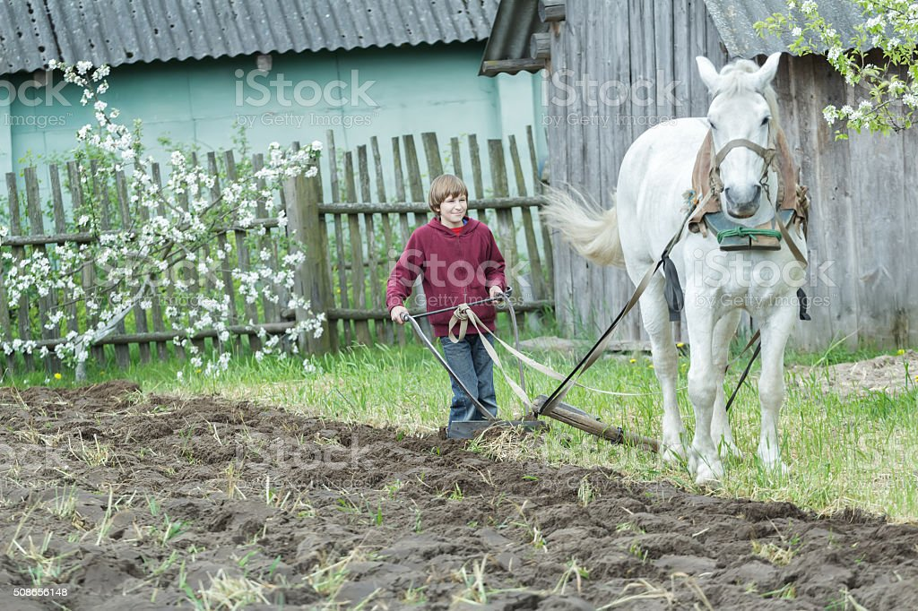 Young farmer tilling soil with traditional single-sided ploughing stock photo