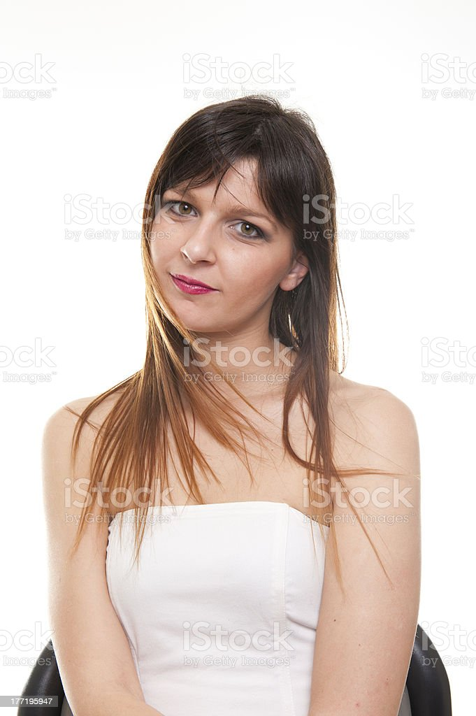 Young fashion business woman on white background royalty-free stock photo