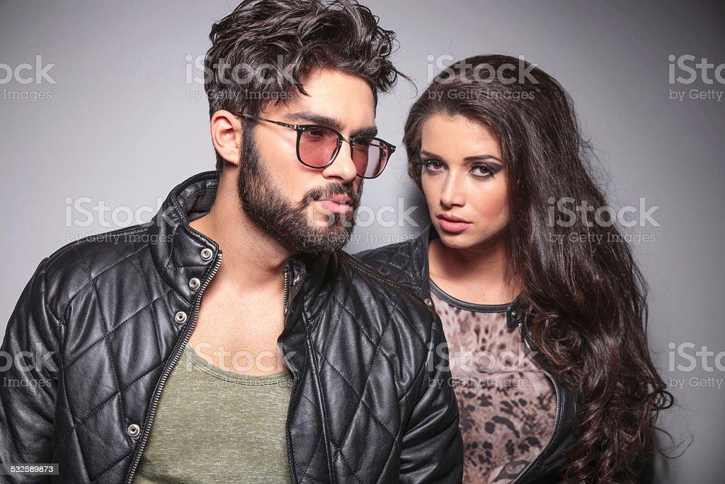 Young fashion couple posing stock photo
