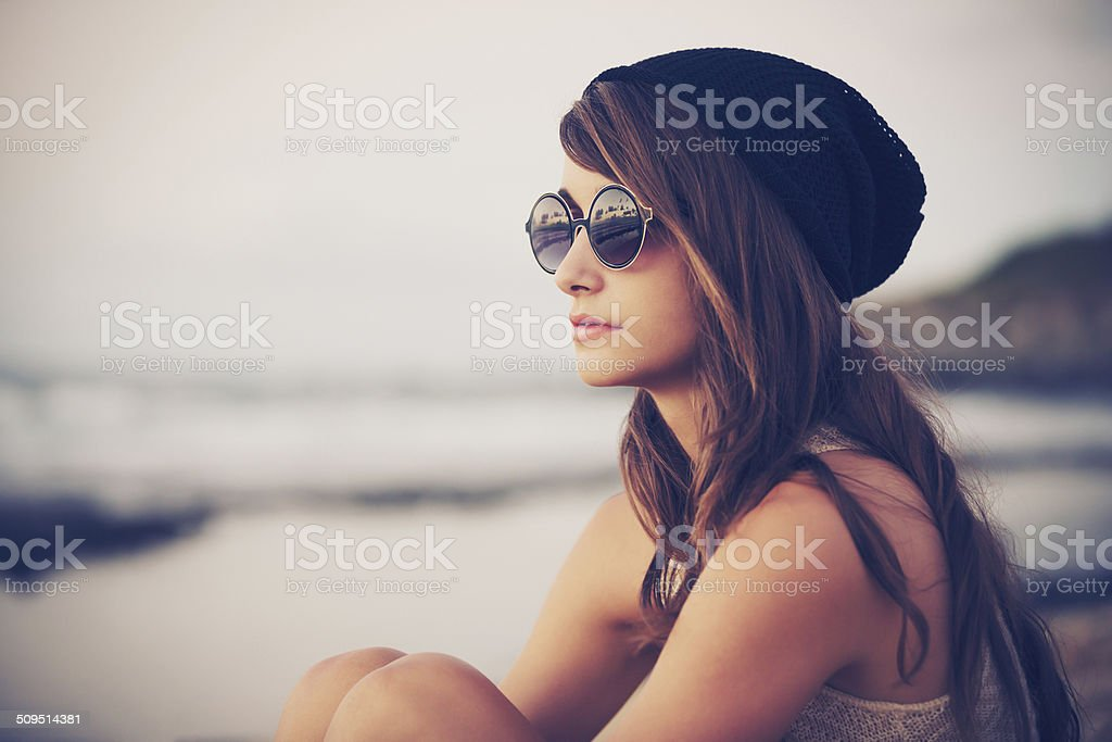 Young fashion hipster woman stock photo