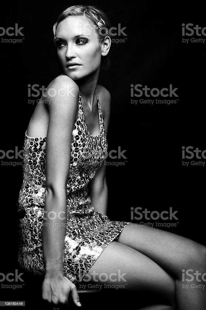 Young Fashion Model Looking Around royalty-free stock photo