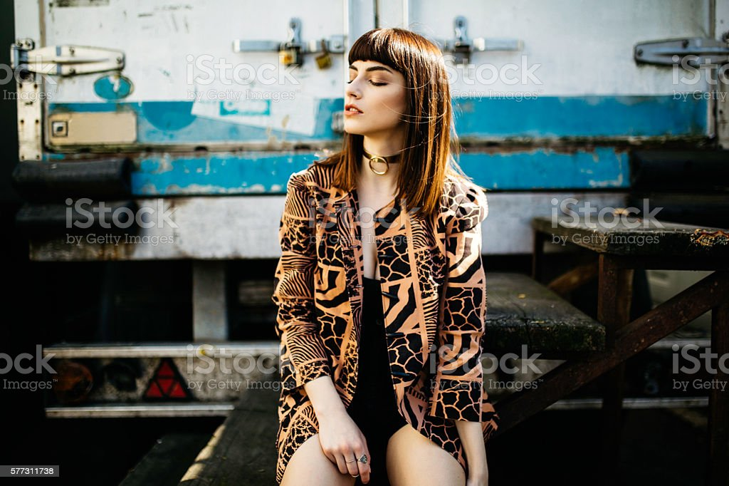 Young fashion model posing stock photo