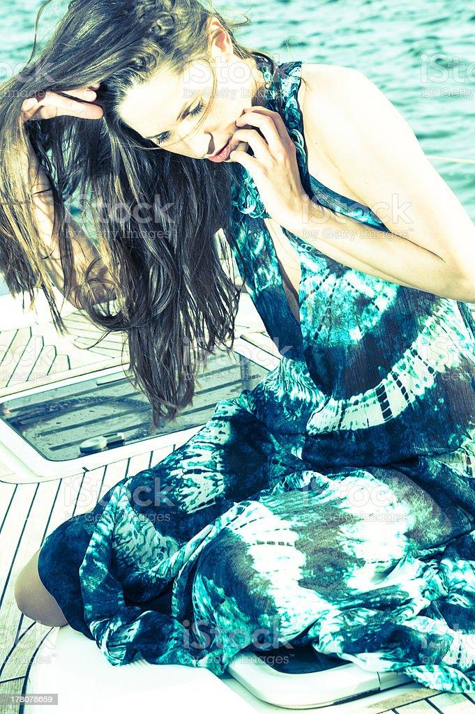 young fashion shoot at marina of palma de mallorca royalty-free stock photo
