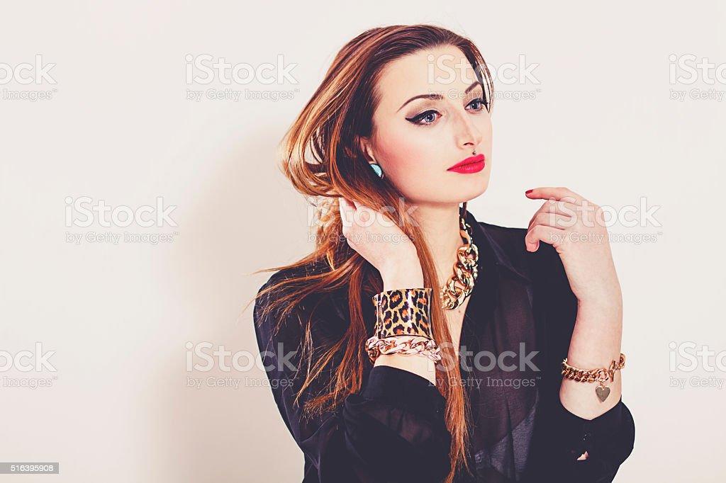 Young fashionable girl stock photo