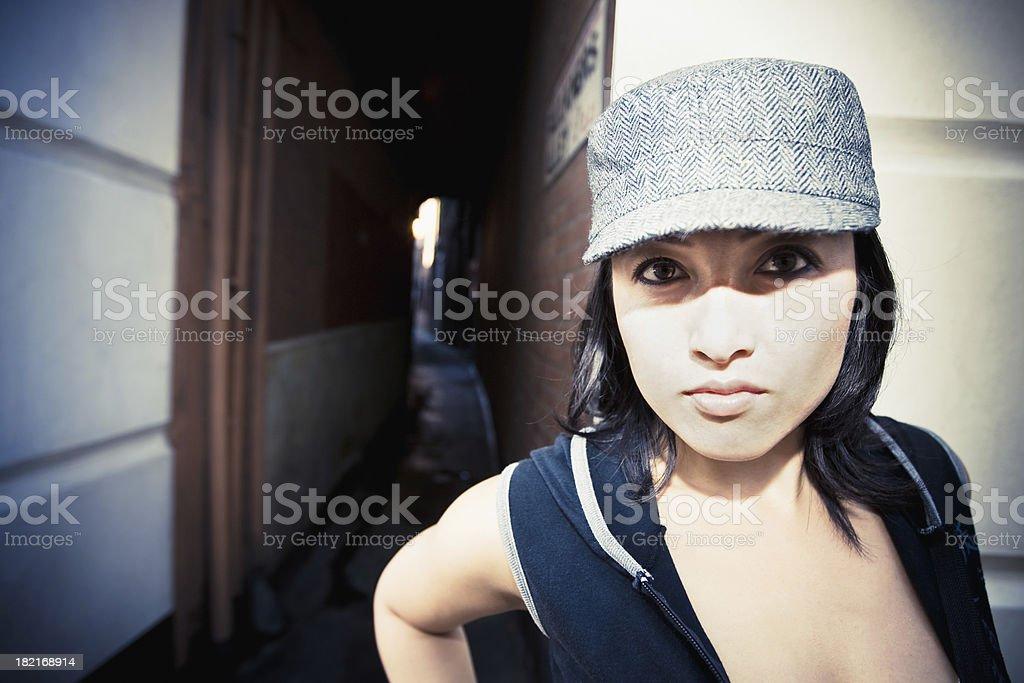 Young Fashionable Woman London Street Portrait royalty-free stock photo