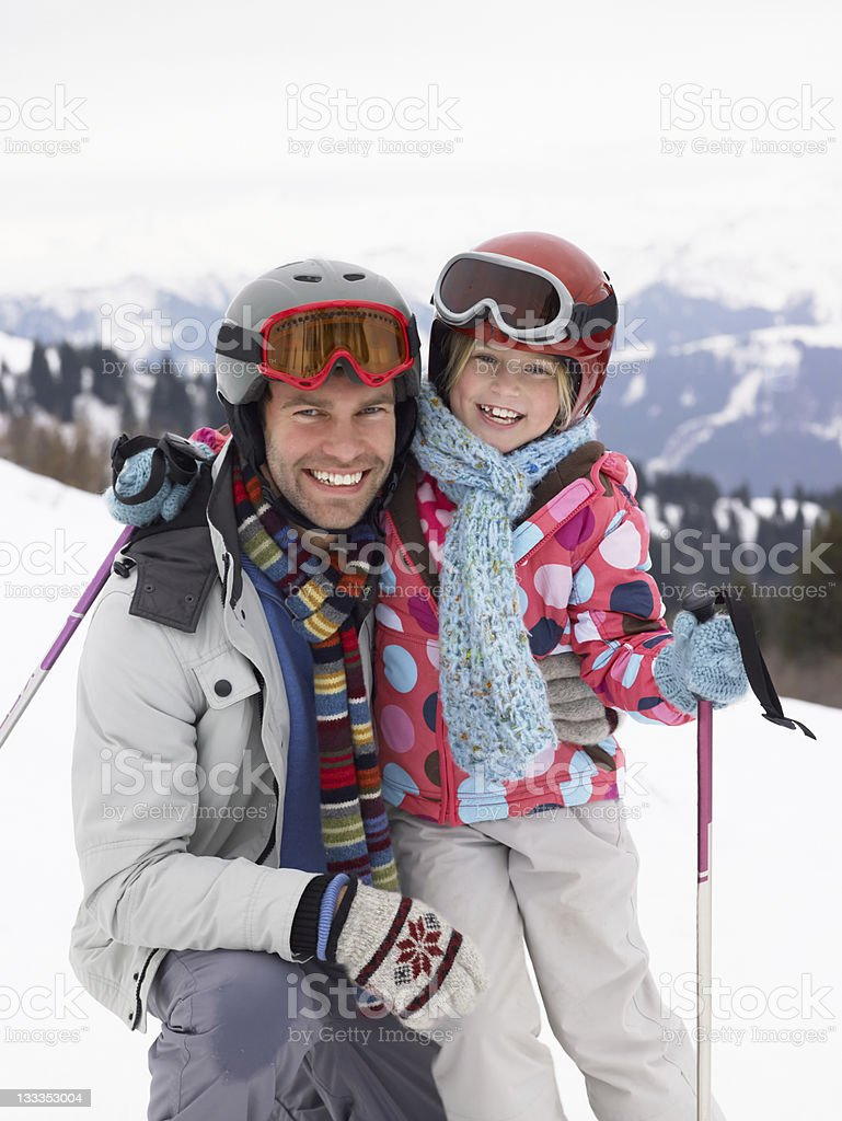 Young Father And Daughter On Ski Vacation royalty-free stock photo