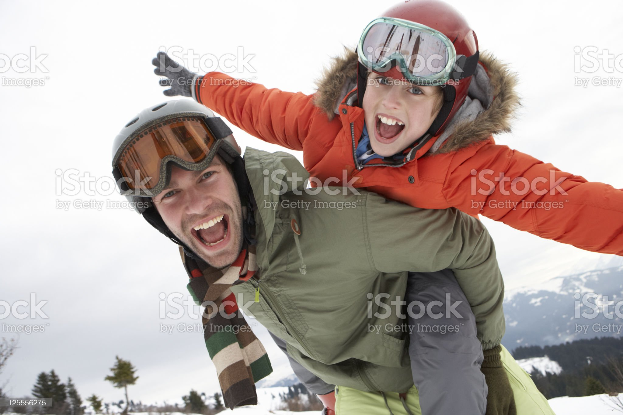 Young Father And Son On Winter Vacation royalty-free stock photo