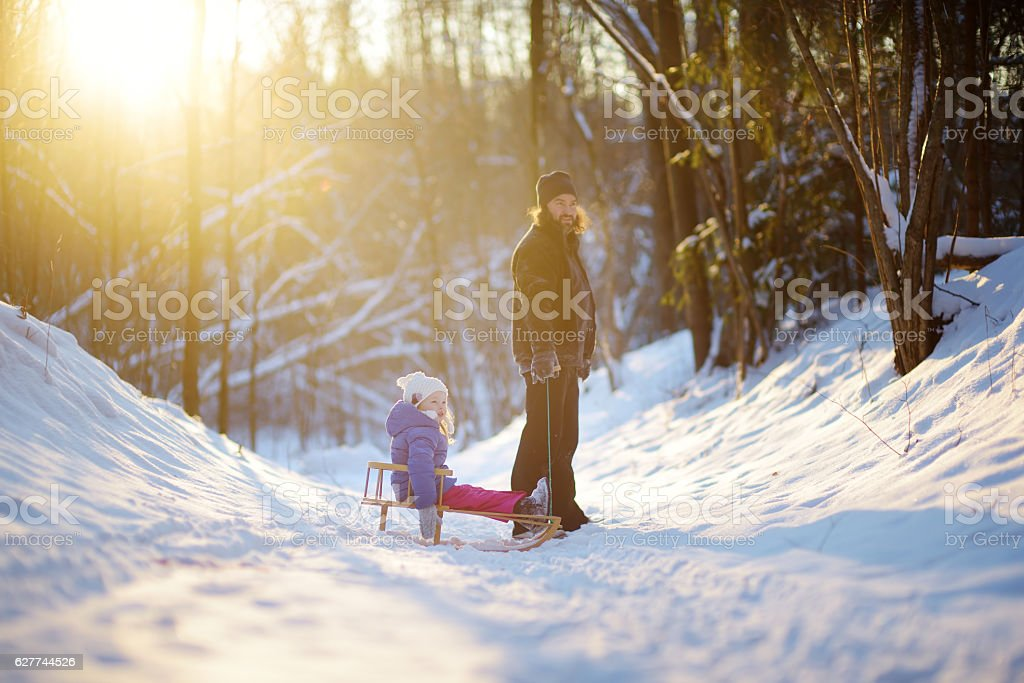 Young father with daughter having fun with sleigh in park stock photo