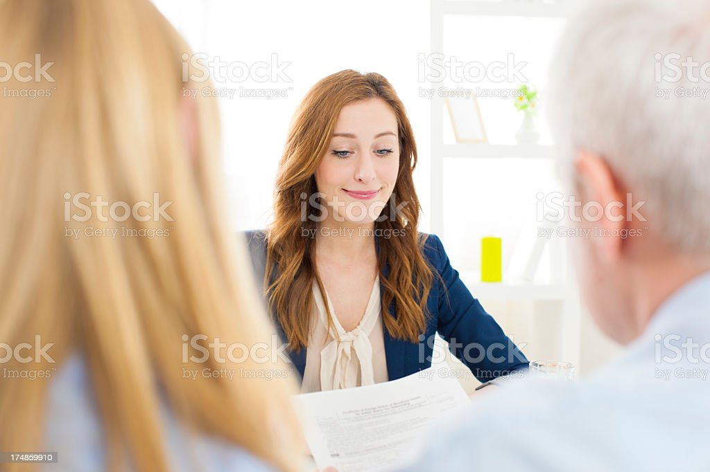 Young Fearful Woman Having Job Interview. royalty-free stock photo
