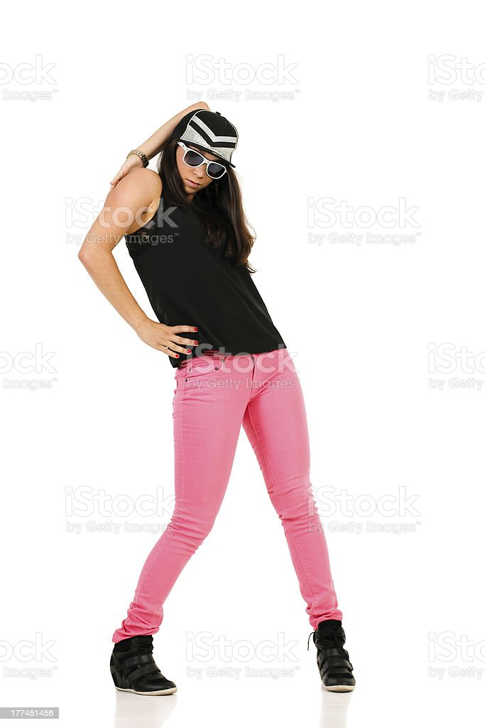 Young female brunette hip-hop dancer royalty-free stock photo
