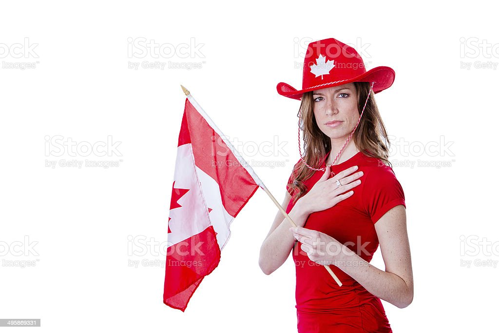 Young female celebrating Canada's Day stock photo