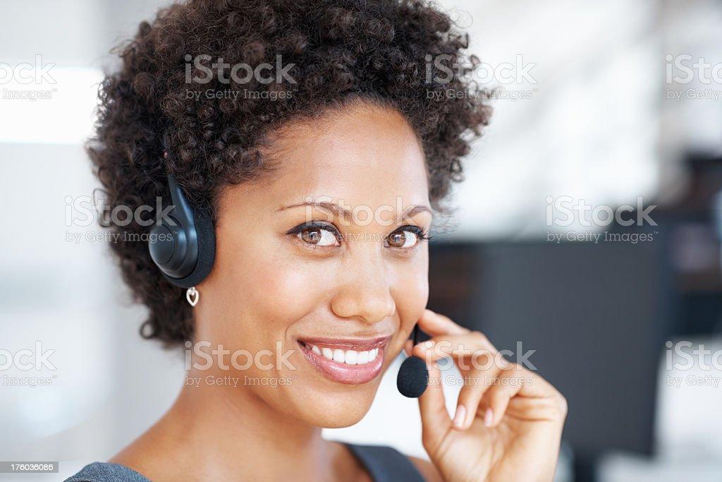 Young female customer support representative stock photo