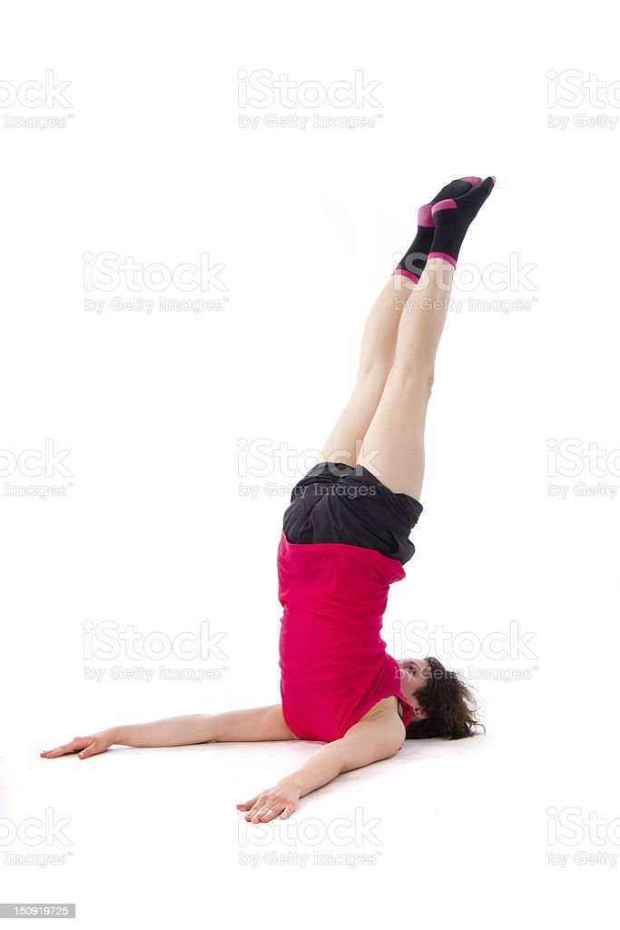 Young female doing exercise royalty-free stock photo