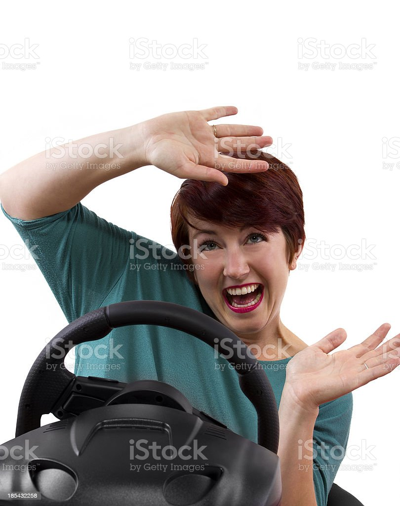Young female driver on a white background in an accident royalty-free stock photo