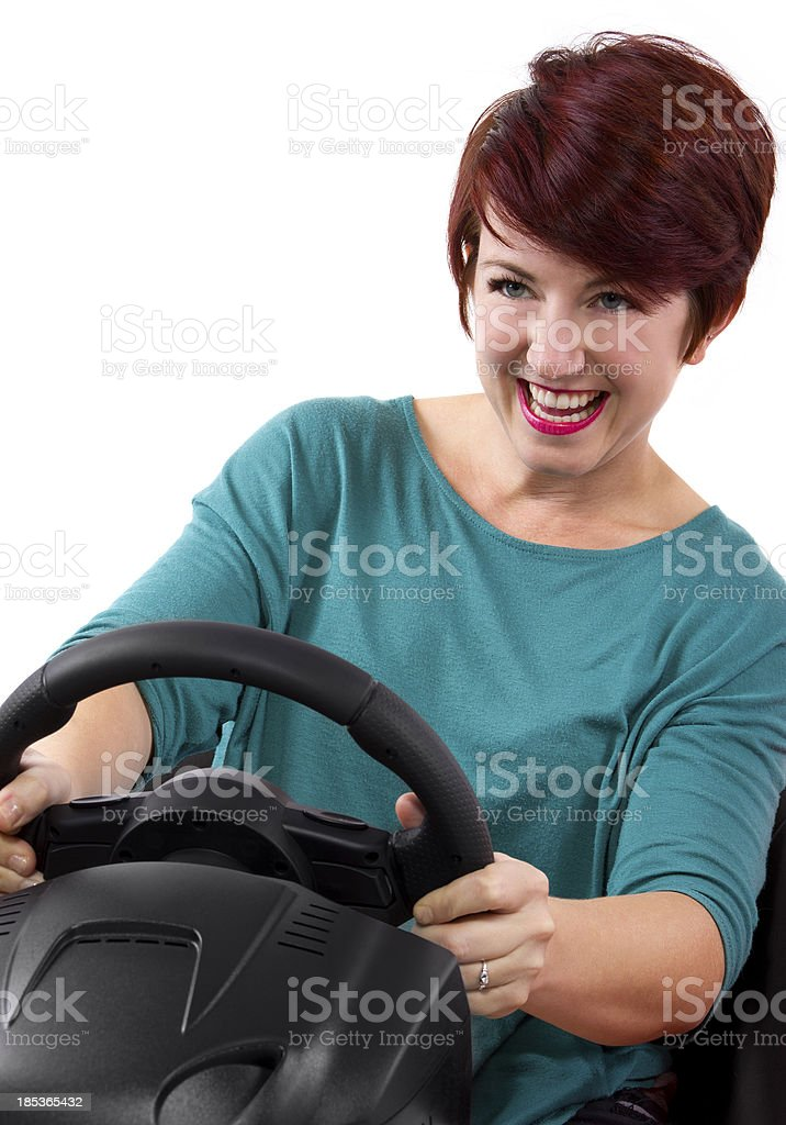 Young female driver on a white background royalty-free stock photo
