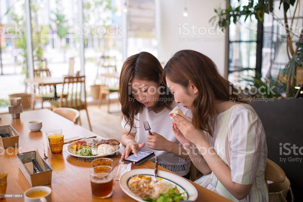 Young female friends checking SNS on smart phone at cafeteria stock photo