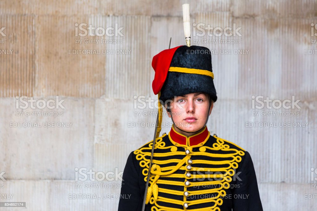 Young female guard on duty at horse guards parade, London, UK stock photo