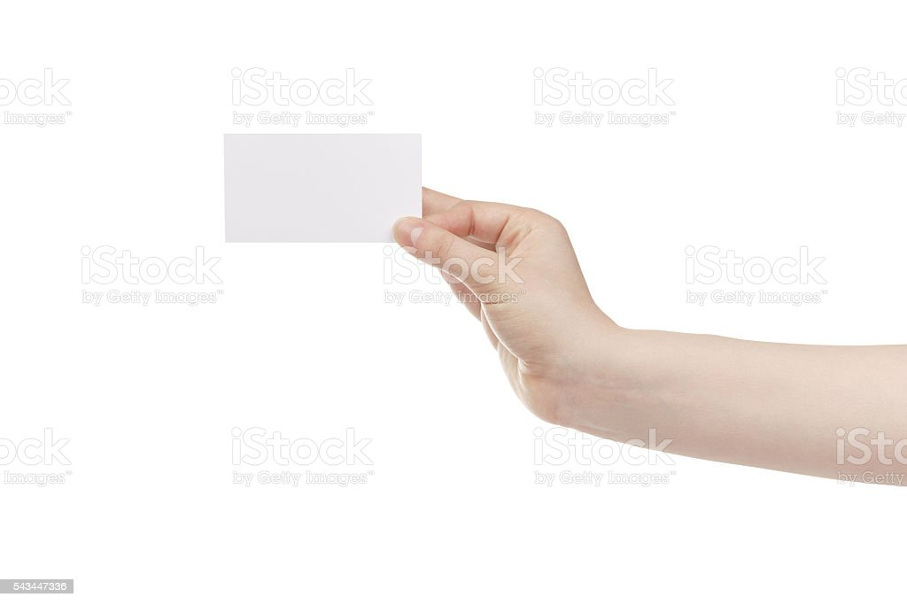young female hand hold blank white paper card stock photo