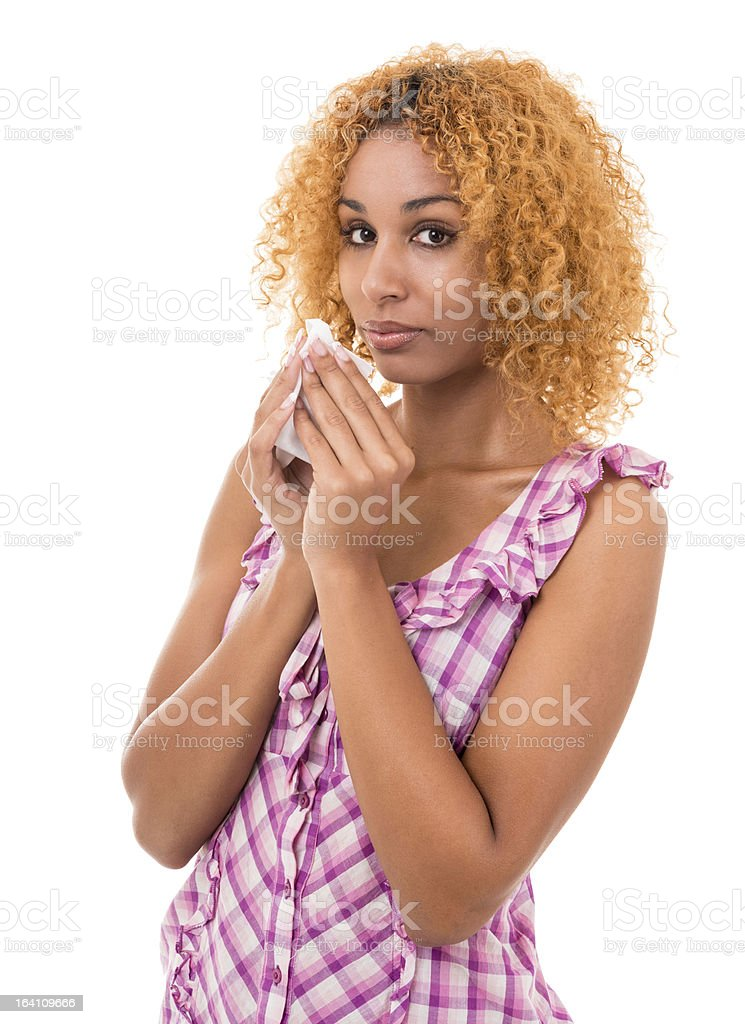 young female having a cold royalty-free stock photo