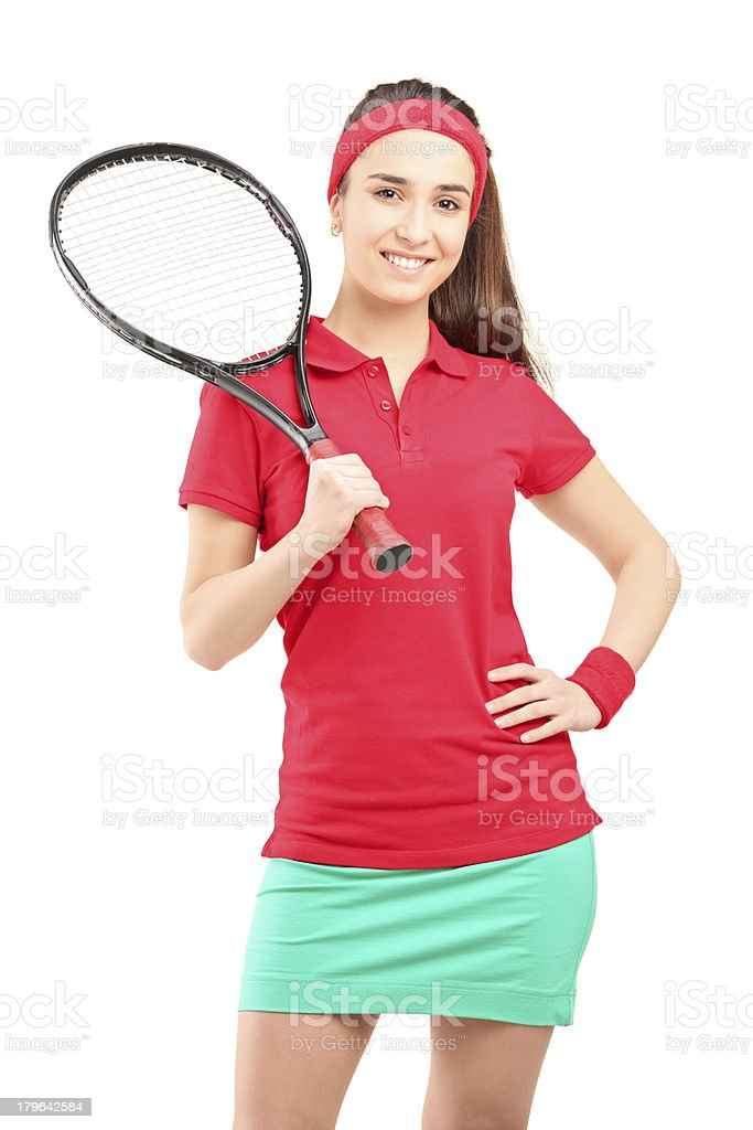 Young female holding a tennis racket royalty-free stock photo