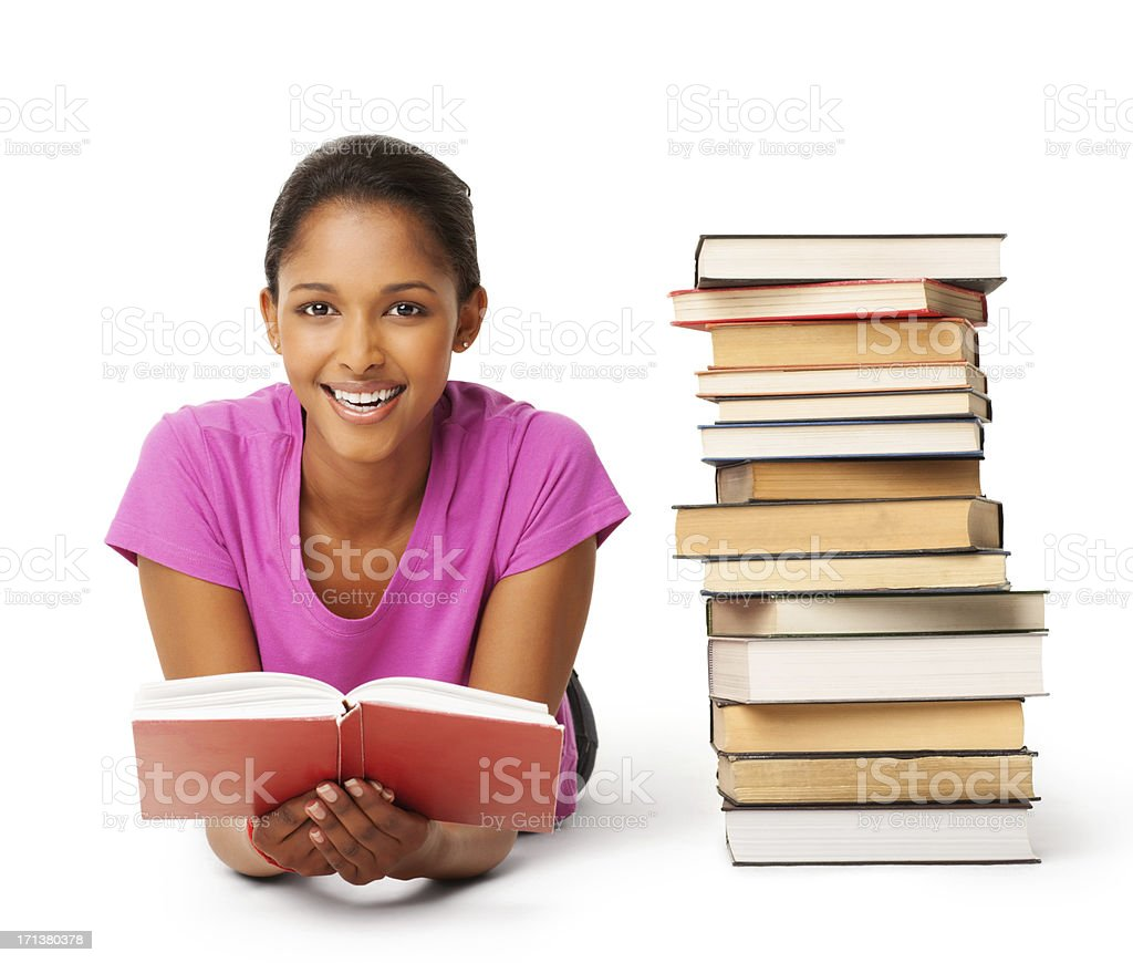 Young Female Holding Book - Isolated royalty-free stock photo