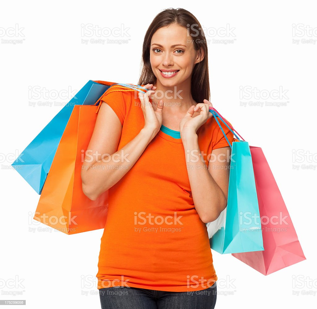 Young Female Holding Shopping Bags - Isolated royalty-free stock photo