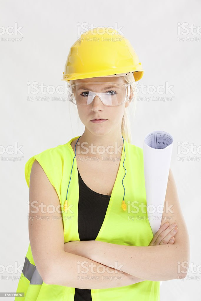 Young female industrial laborer stock photo