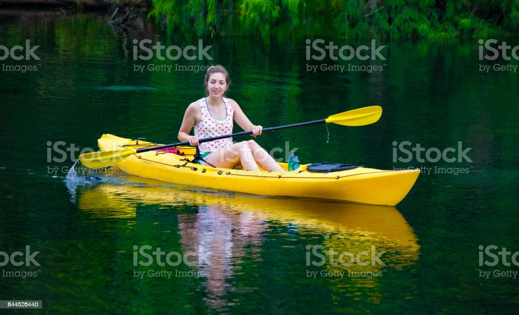 Young Female Kayaker stock photo