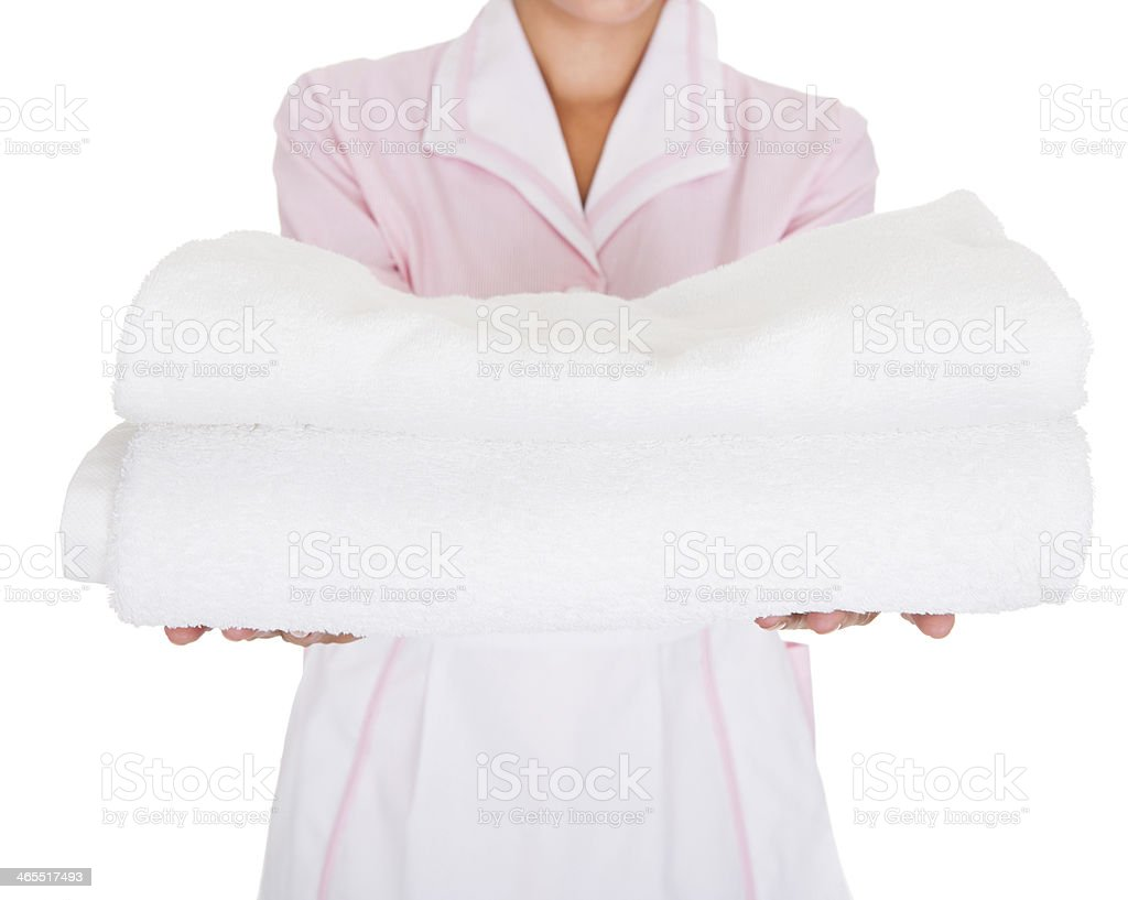 Young Female Maid With Towel royalty-free stock photo