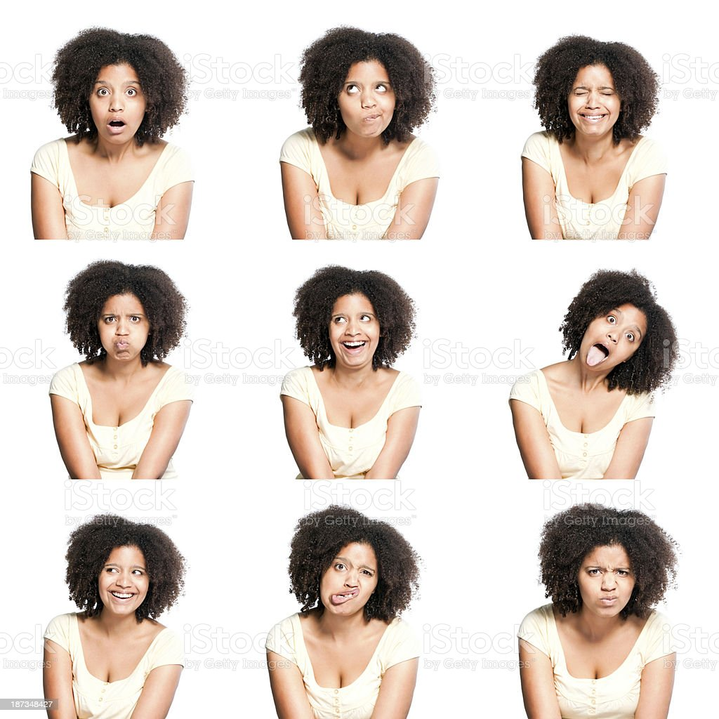 Young female making facial expressions stock photo