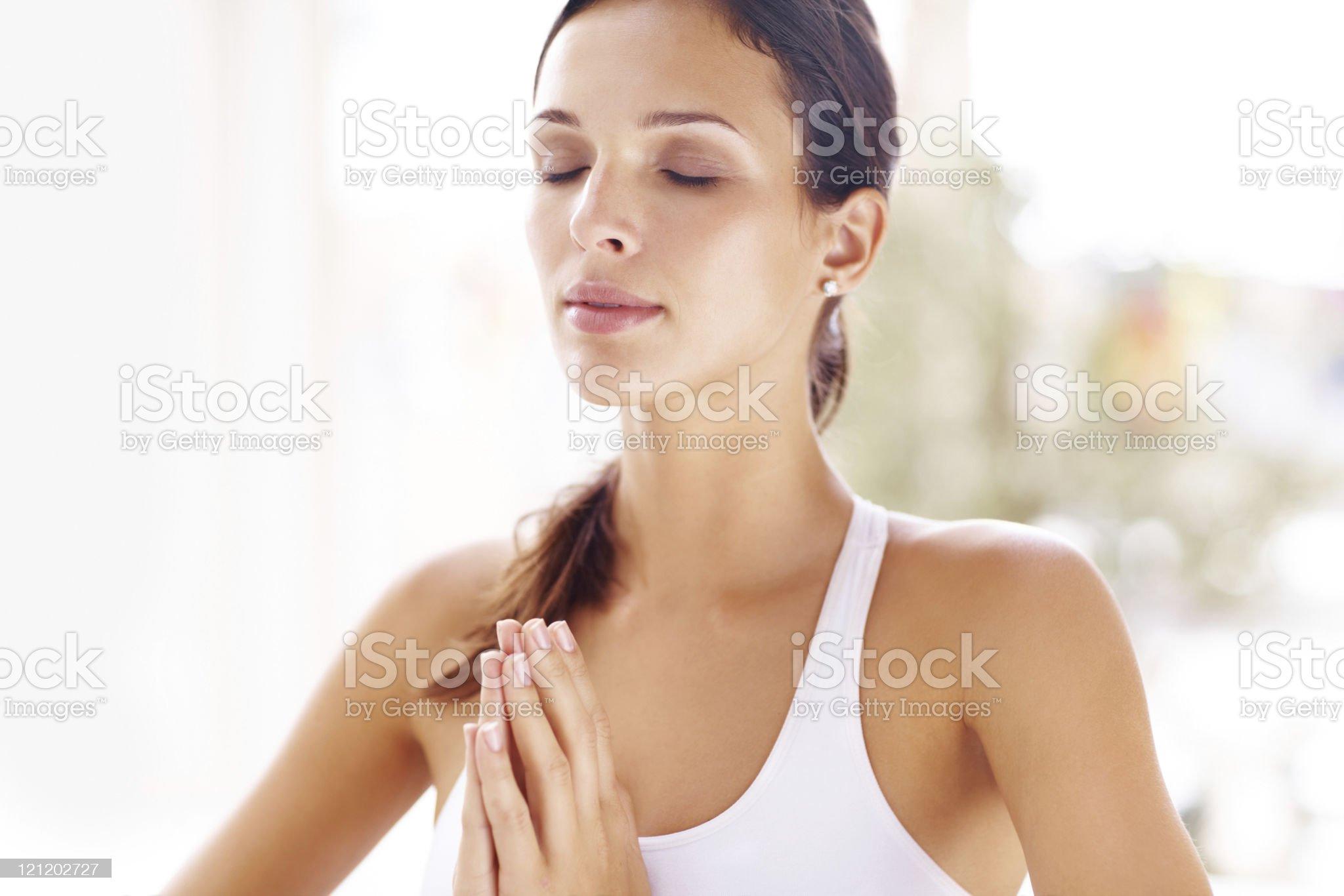Young female meditating royalty-free stock photo