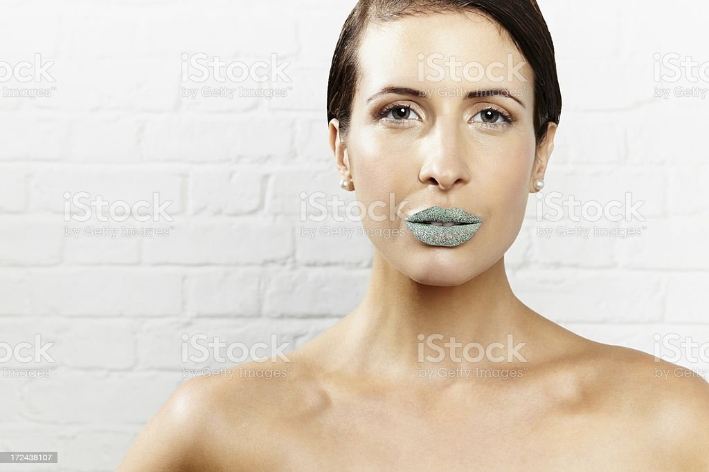 Young female model with creative lips makeup royalty-free stock photo