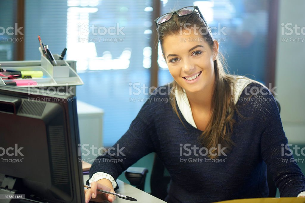 young female office worker or intern stock photo