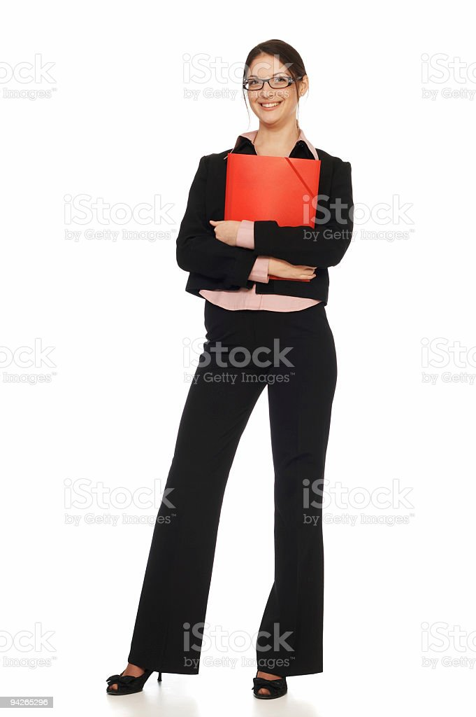Young female office worker posing isolated on white background royalty-free stock photo