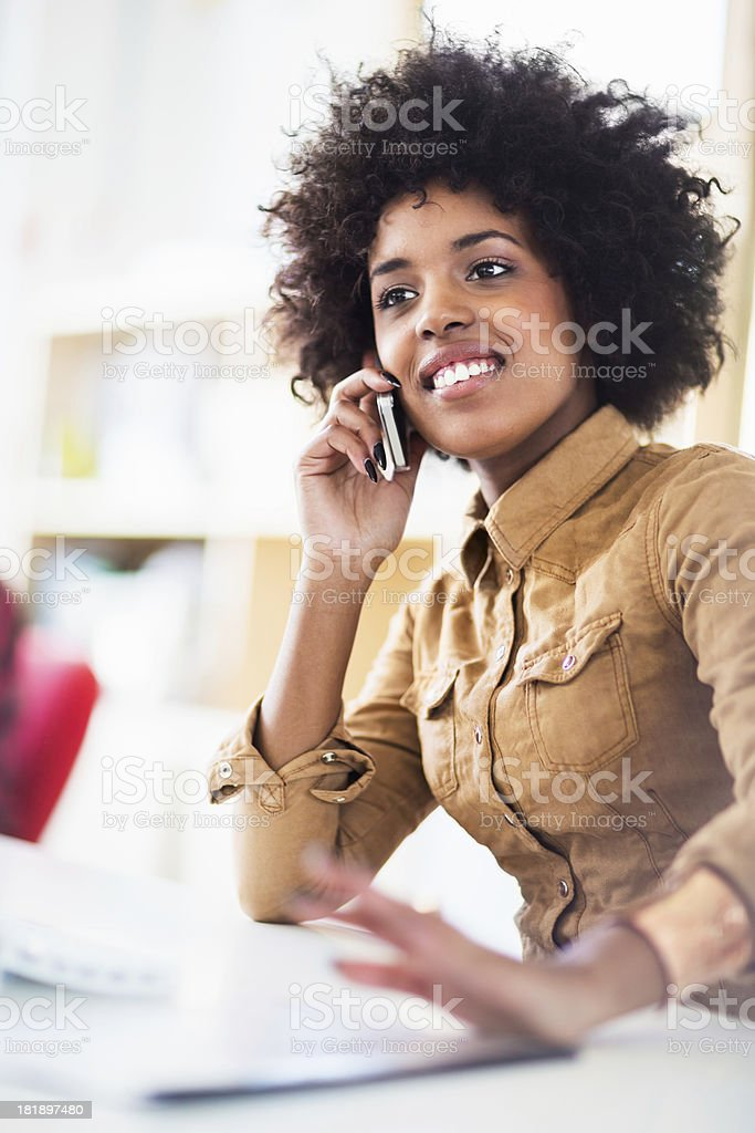 Young Female Office Worker With Smart Phone royalty-free stock photo