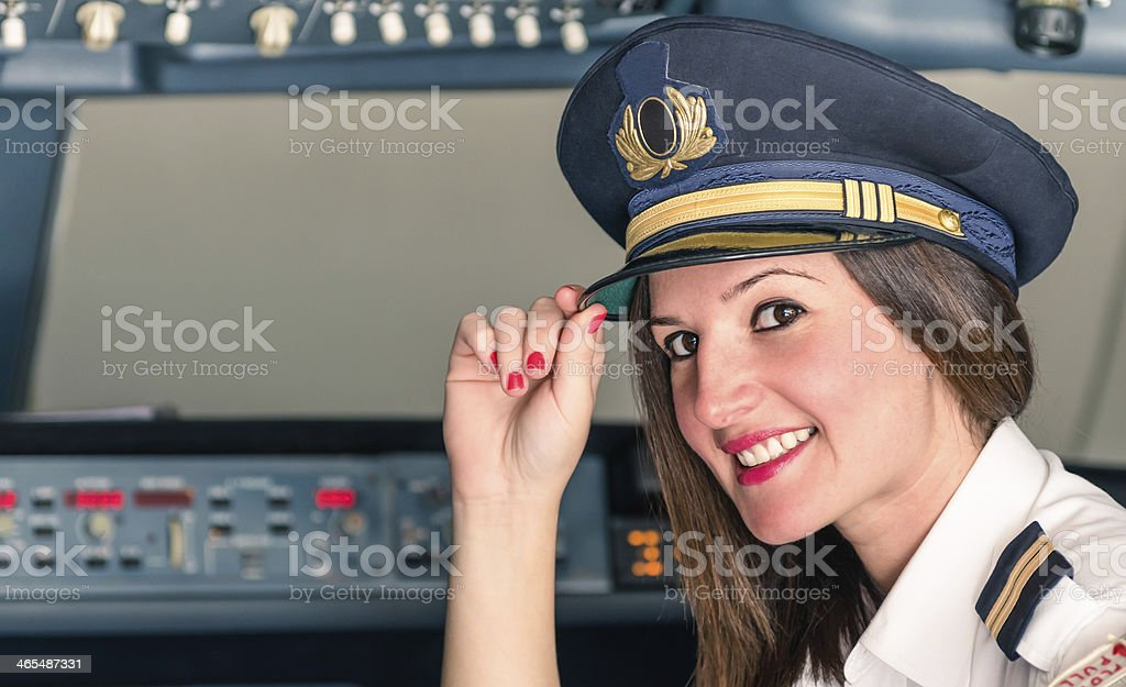 Young female Pilot ready for Takeoff stock photo
