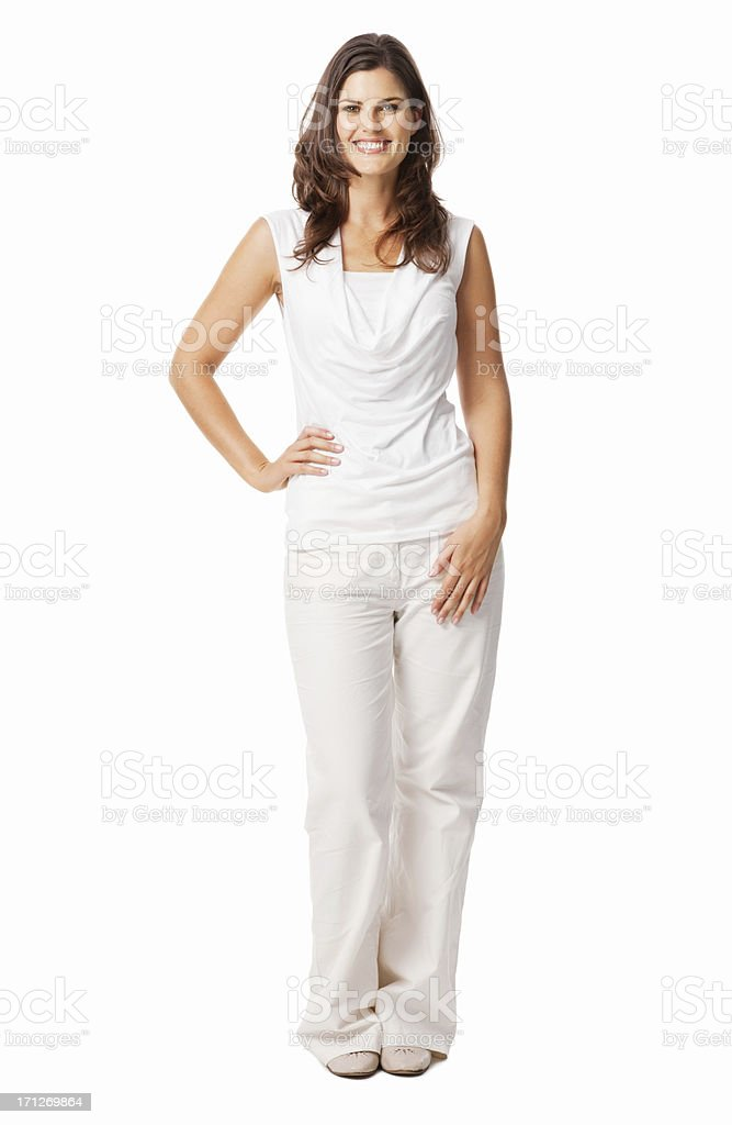 Young Female Posing With Hand On Hip - Isolated royalty-free stock photo