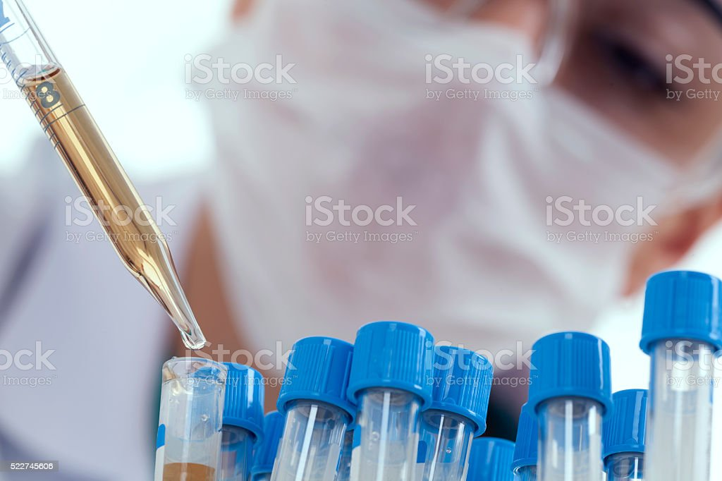 Young female researcher  working stock photo