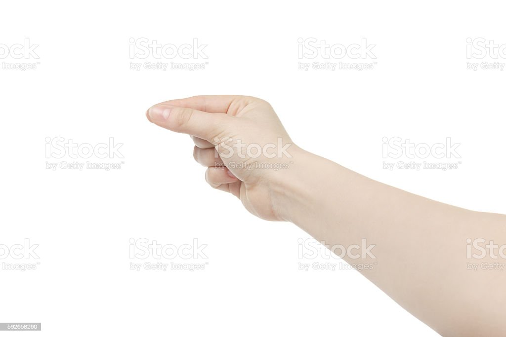 young female right hand to hold something small like card stock photo