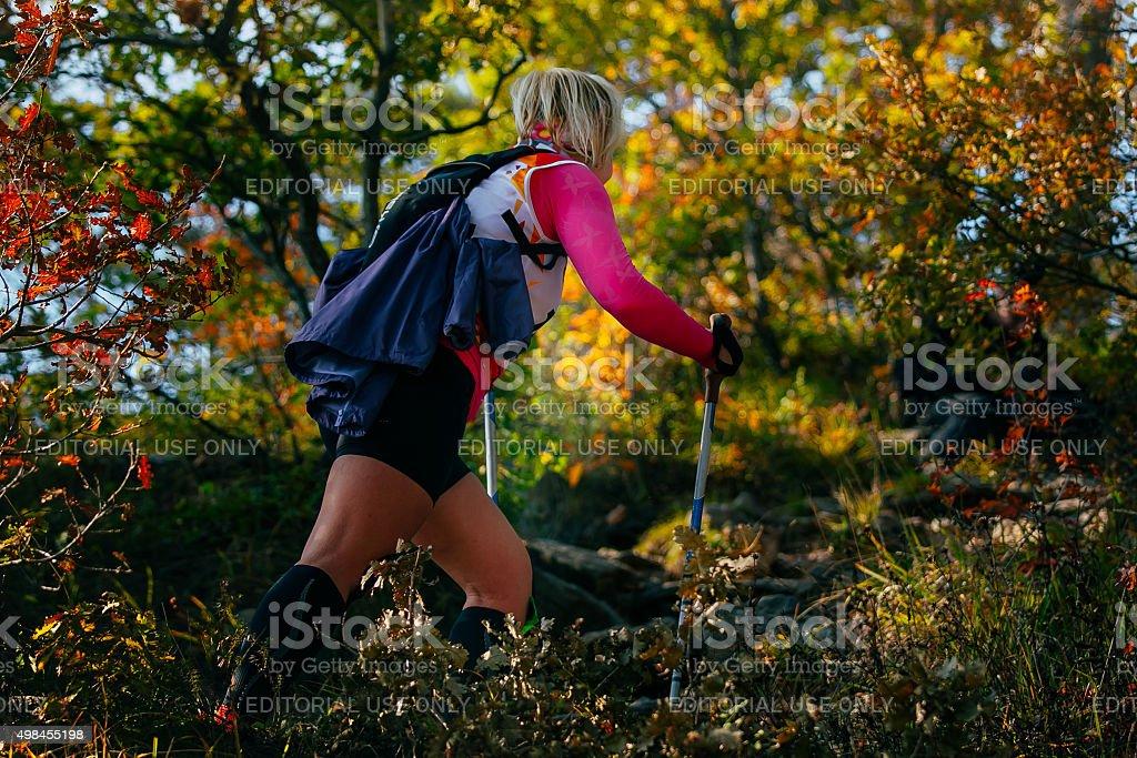 젊은 여성 프로그램, 노르딕 산책용 장대 royalty-free 스톡 사진