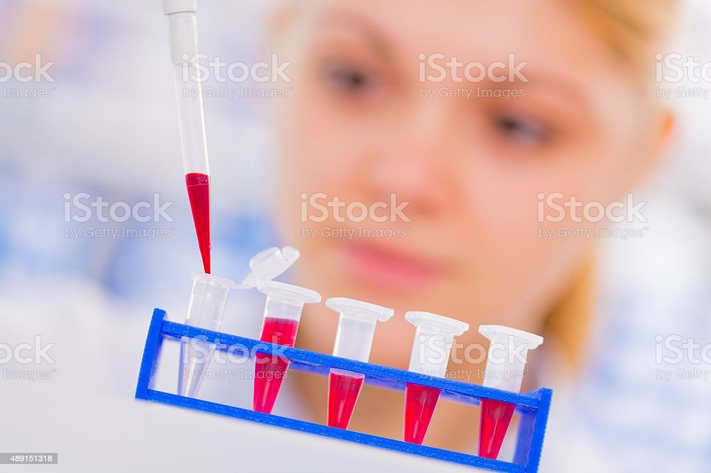 Young female scientist loads samples for DNA amplification by PC stock photo